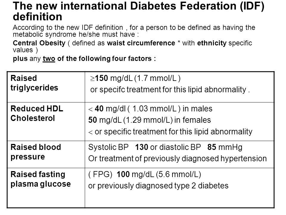 The new international Diabetes Federation (IDF) definition