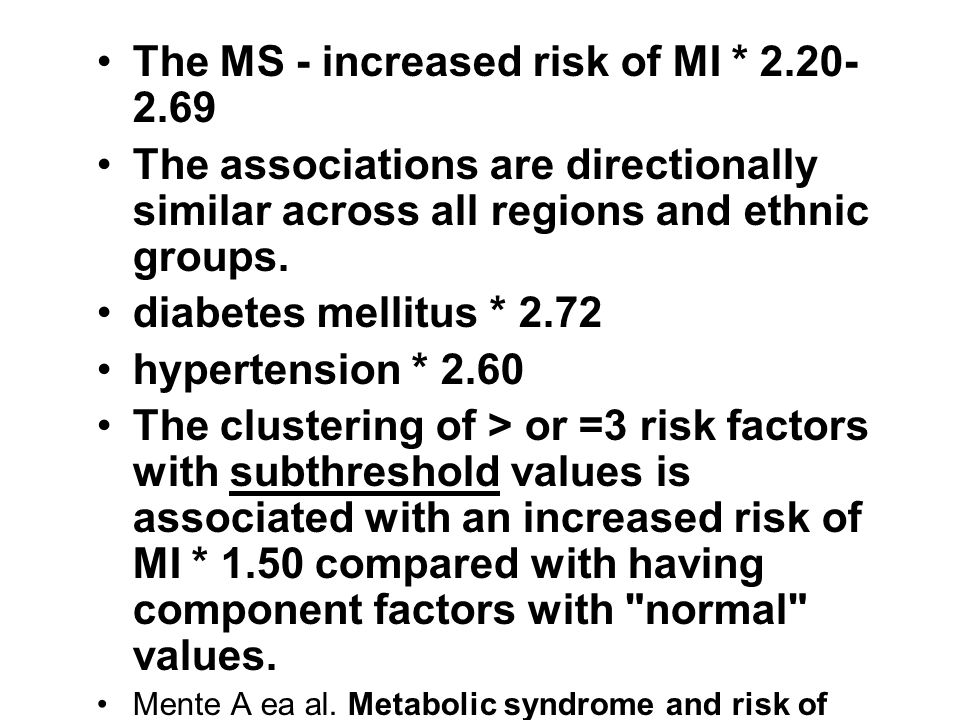 The MS - increased risk of MI * 2.20-2.69