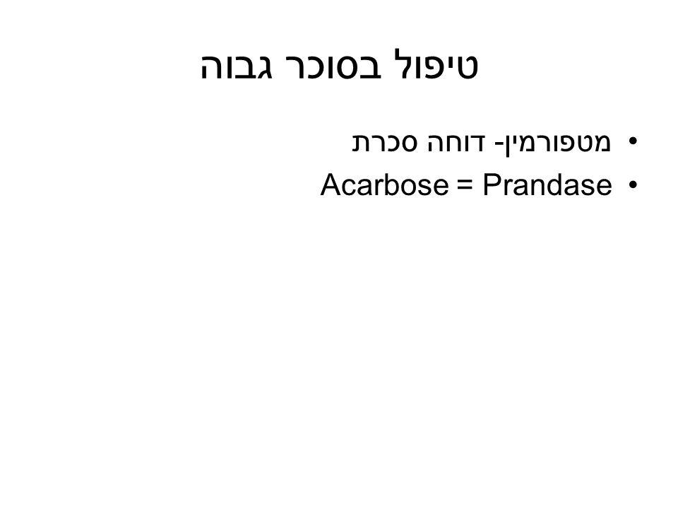 טיפול בסוכר גבוה מטפורמין- דוחה סכרת Acarbose = Prandase