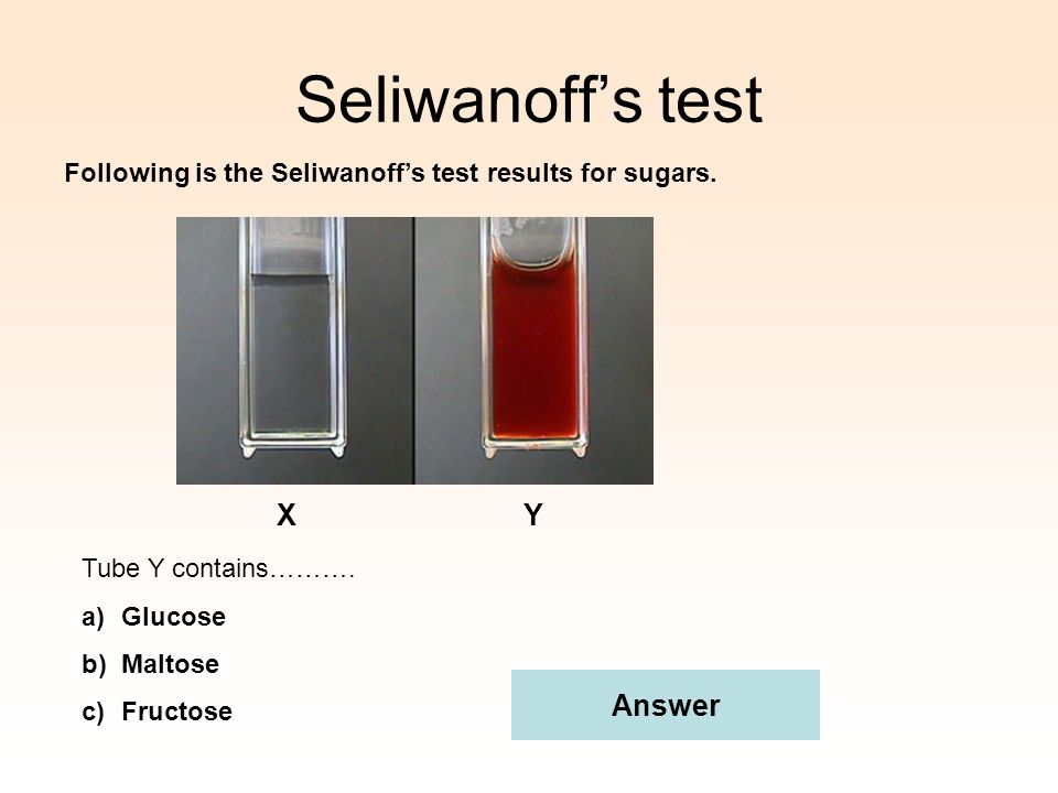 Seliwanoff's test X Y Answer