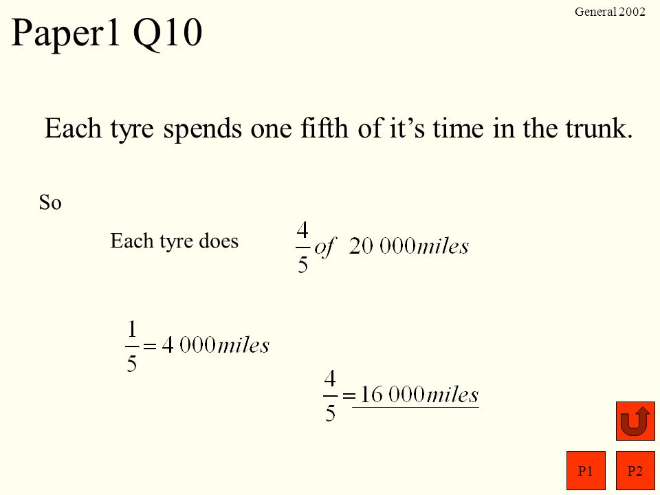 Paper1 Q10 Each tyre spends one fifth of it's time in the trunk. So