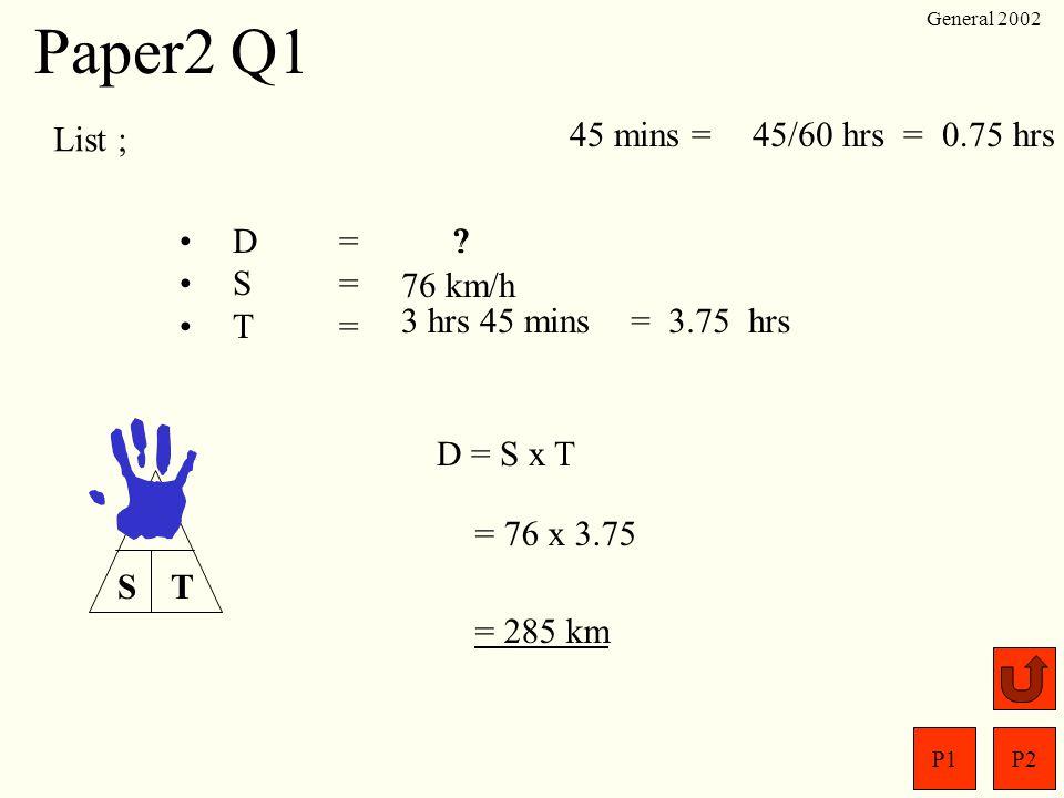 Paper2 Q1 List ; 45 mins = 45/60 hrs = 0.75 hrs D = S = T =