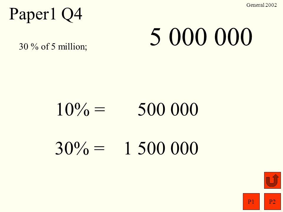 5 000 000 10% = 500 000 30% = 1 500 000 Paper1 Q4 30 % of 5 million;