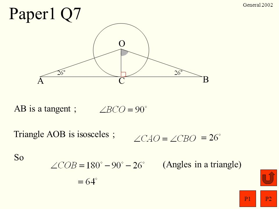 Paper1 Q7 O A C B AB is a tangent ; Triangle AOB is isosceles ; So