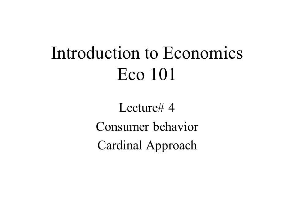 Introduction to Economics Eco 101