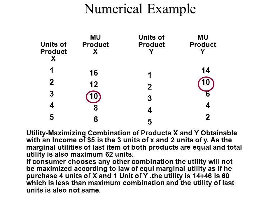 Numerical Example MU. Product. X. Units of. Product. Y. MU. Product. Y. Units of. Product.