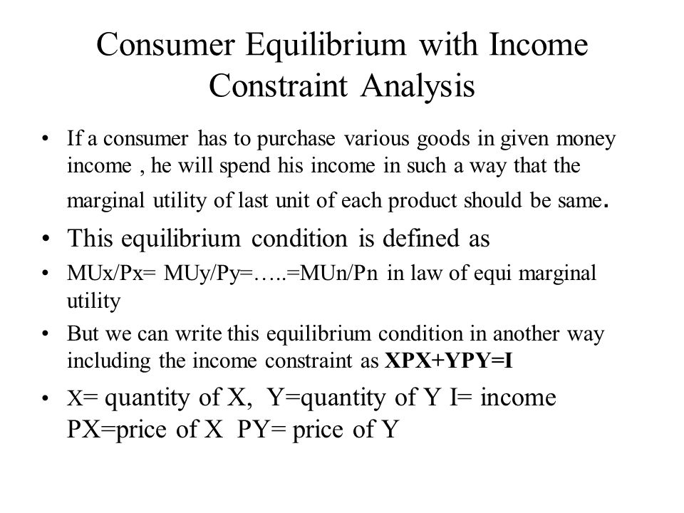 Consumer Equilibrium with Income Constraint Analysis
