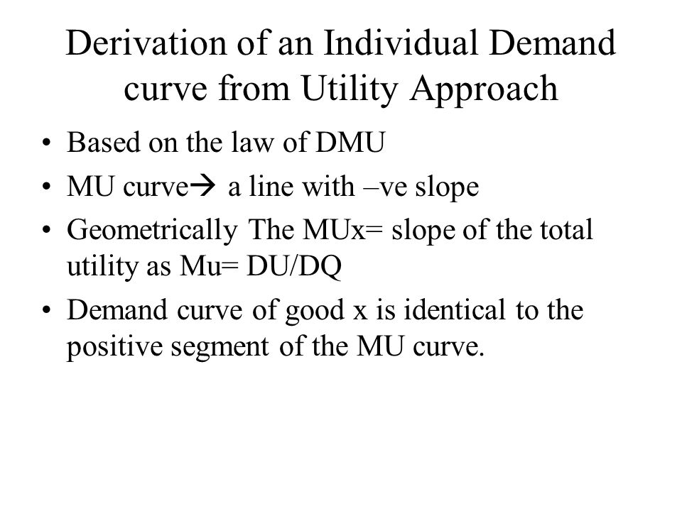 Derivation of an Individual Demand curve from Utility Approach