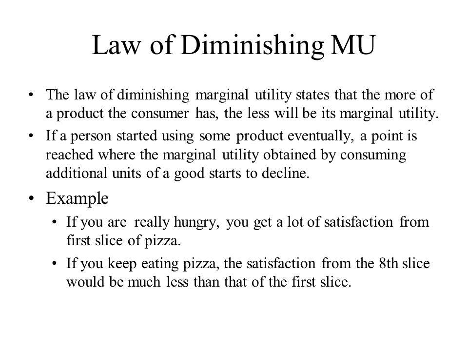 Law of Diminishing MU Example