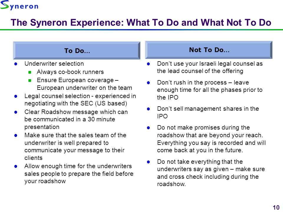 The Syneron Experience: What To Do and What Not To Do