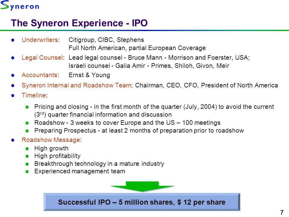 The Syneron Experience - IPO