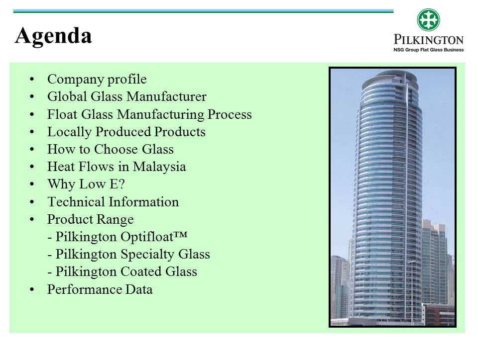 Agenda Company profile Global Glass Manufacturer