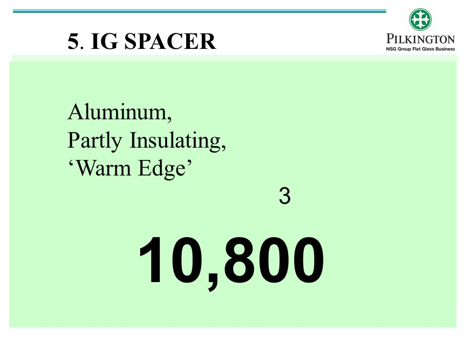 5. IG SPACER Aluminum, Partly Insulating, 'Warm Edge' 3 10,800