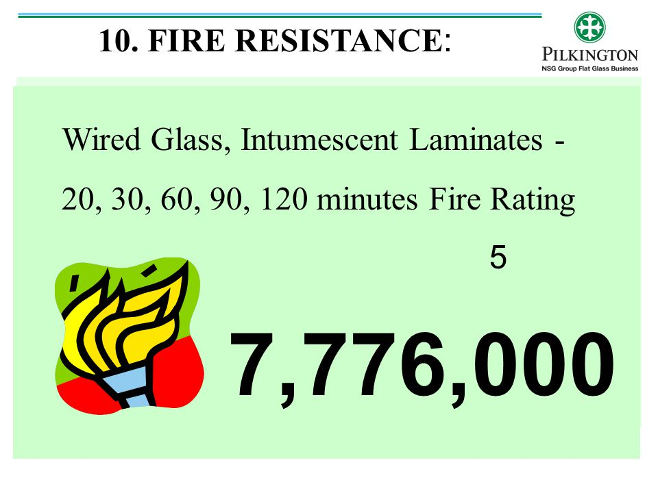 7,776,000 10. FIRE RESISTANCE: Wired Glass, Intumescent Laminates -