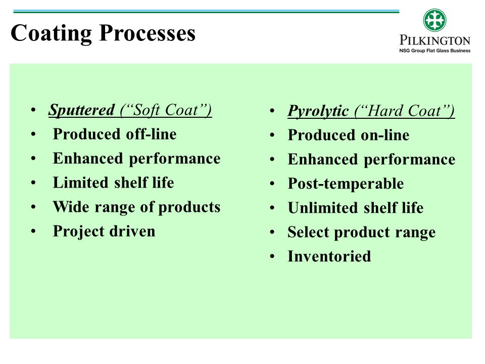 Coating Processes Sputtered ( Soft Coat ) Pyrolytic ( Hard Coat )