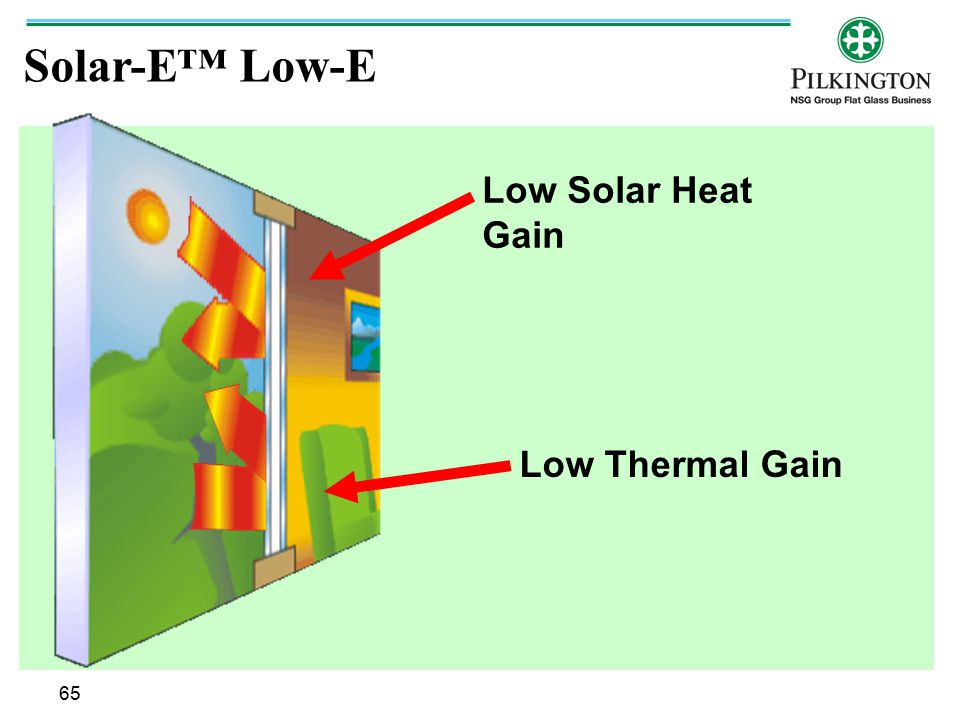 Solar-E™ Low-E Low Solar Heat Gain Low Thermal Gain 65