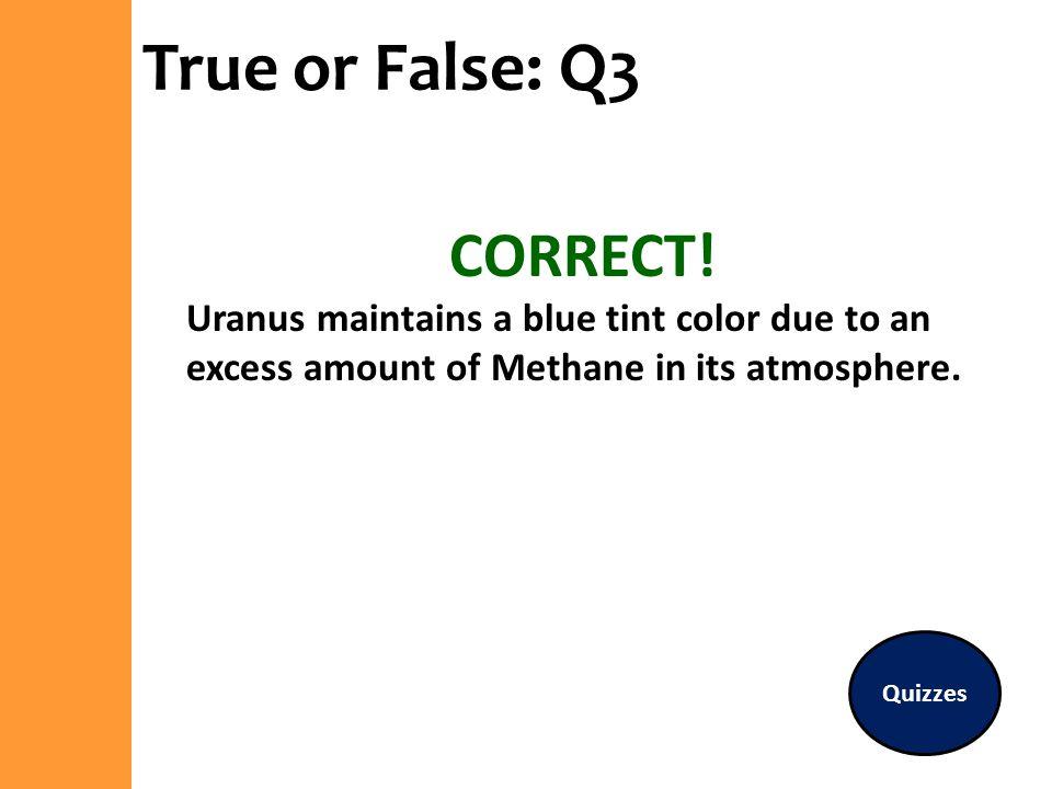 True or False: Q3 CORRECT!