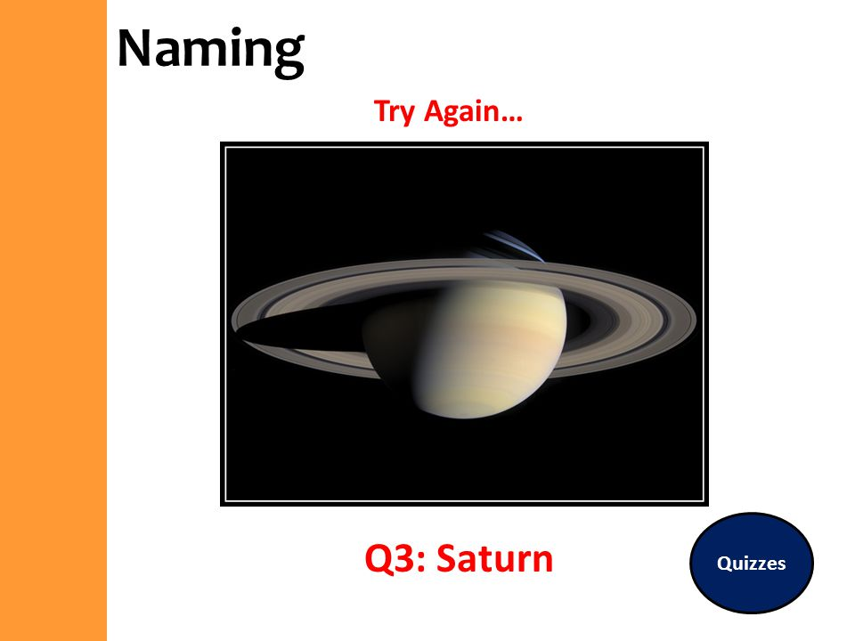 Naming Try Again… Quizzes Q3: Saturn