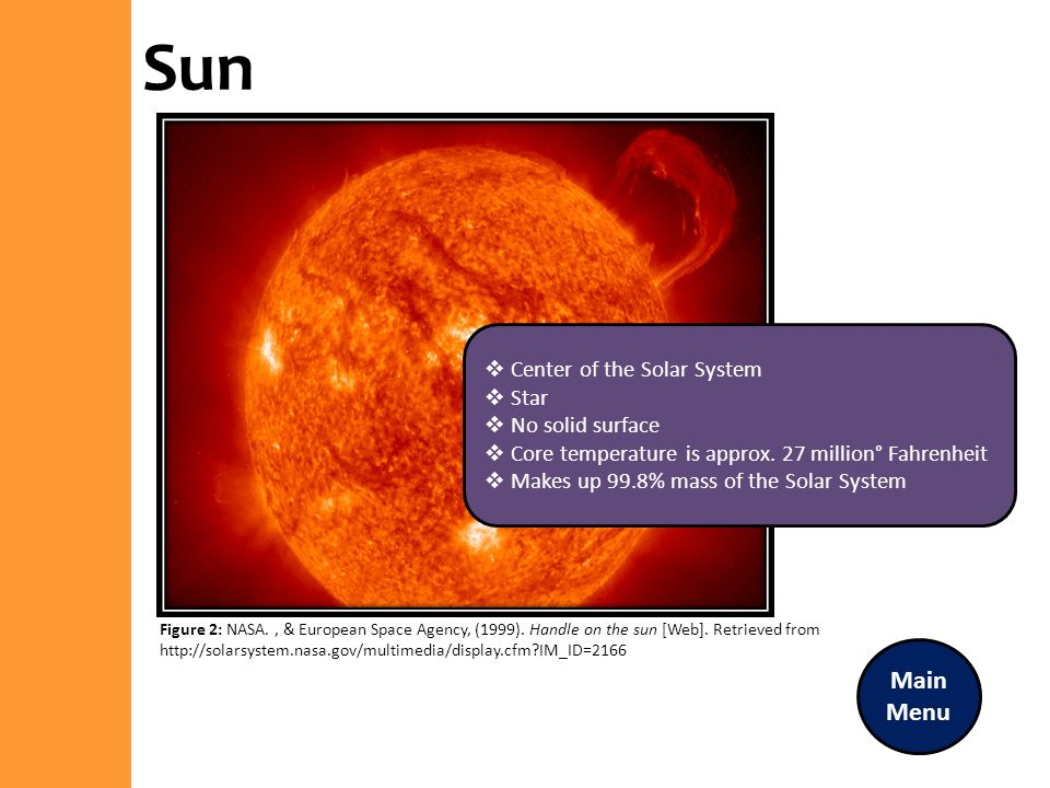 Sun Main Menu Center of the Solar System Star No solid surface