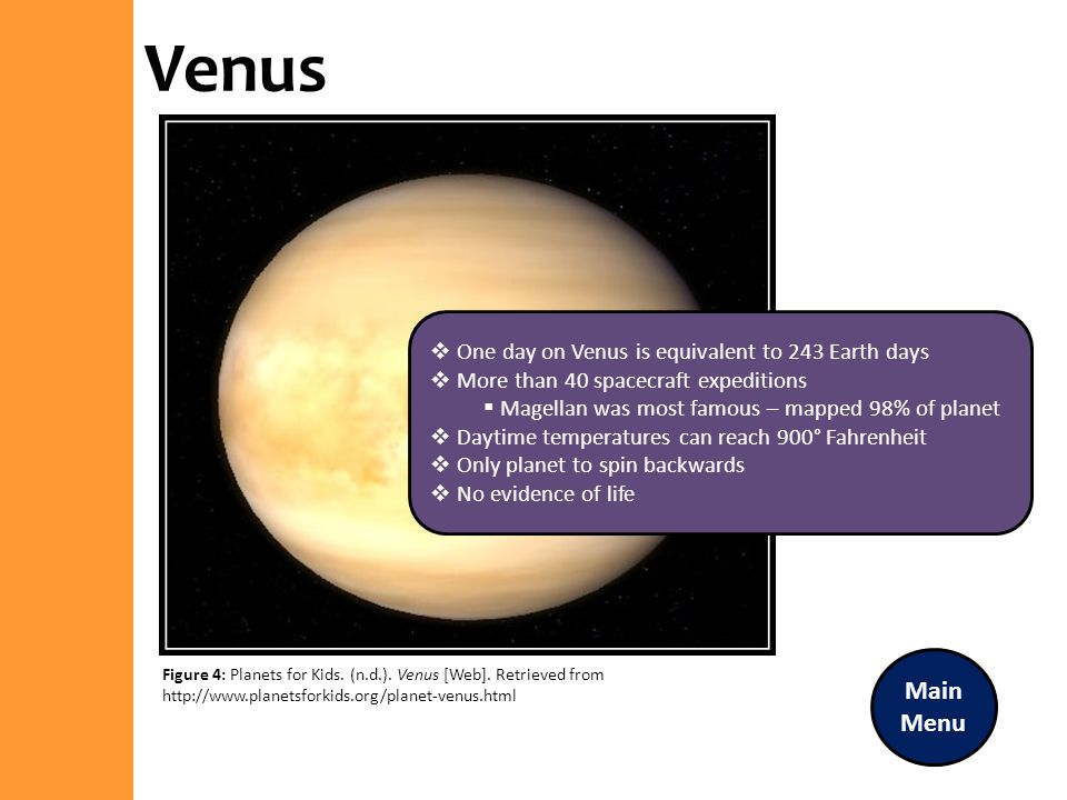 Venus Main Menu One day on Venus is equivalent to 243 Earth days