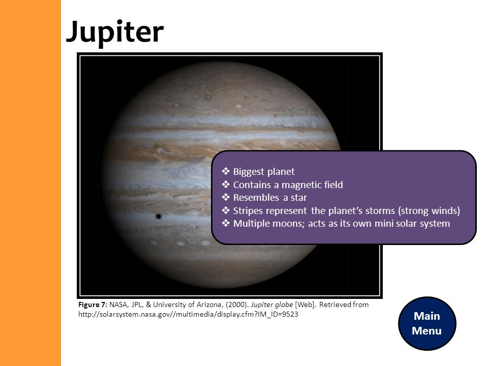 Jupiter Main Menu Biggest planet Contains a magnetic field