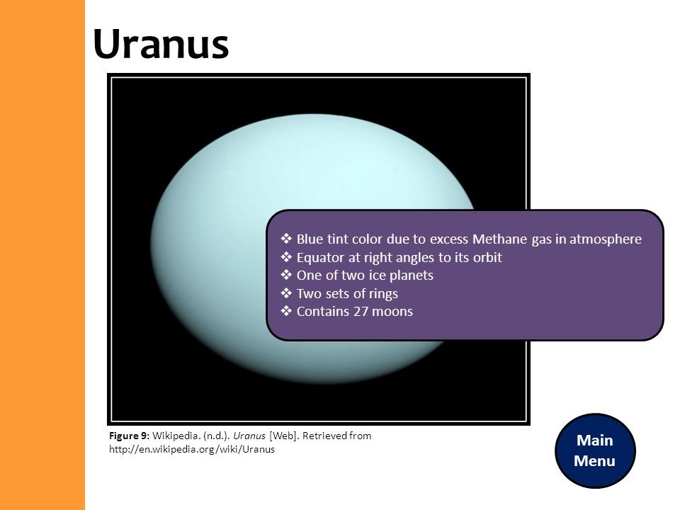 Uranus Blue tint color due to excess Methane gas in atmosphere. Equator at right angles to its orbit.