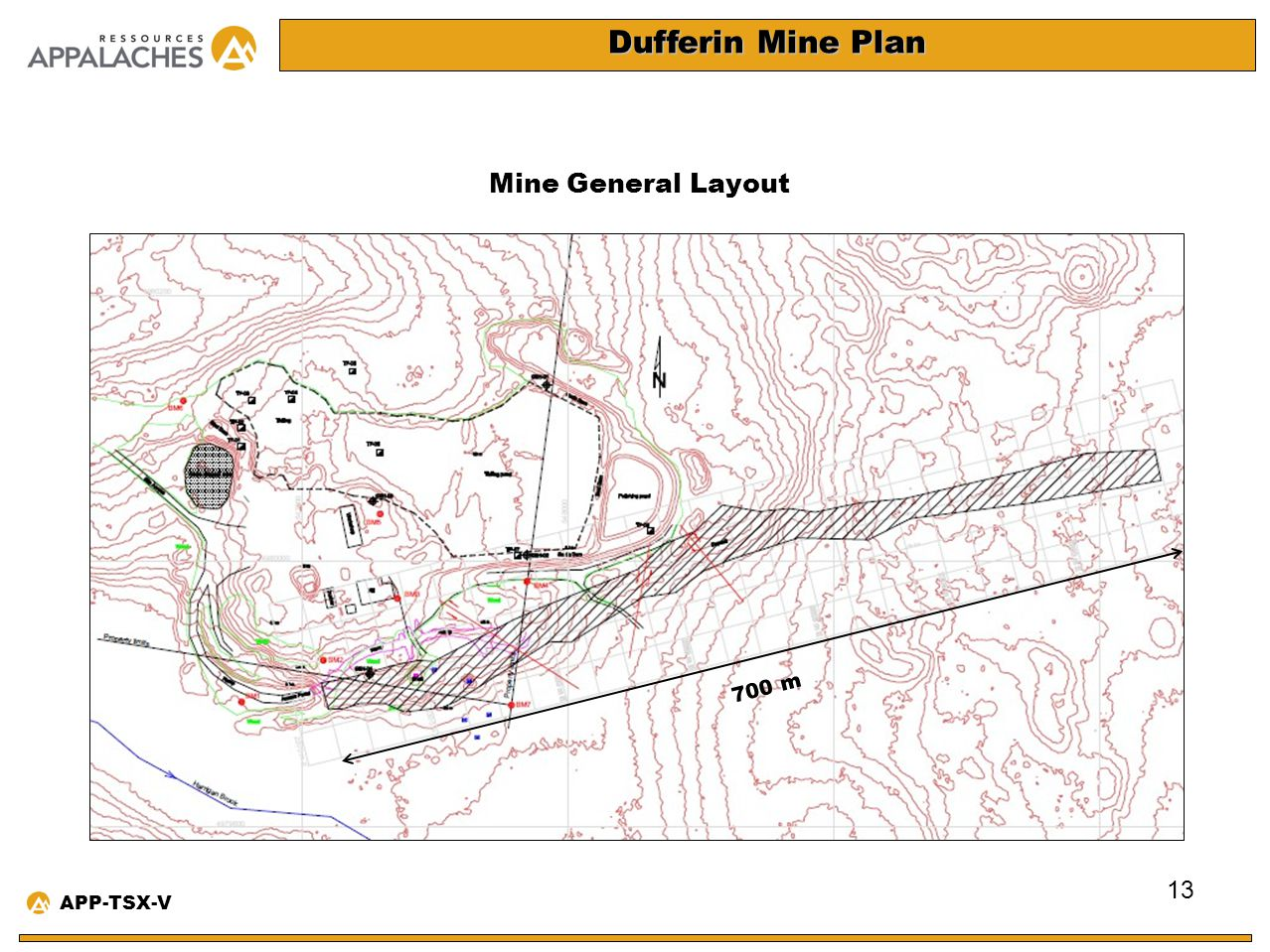 Dufferin Mine Plan Mine General Layout 700 m APP-TSX-V