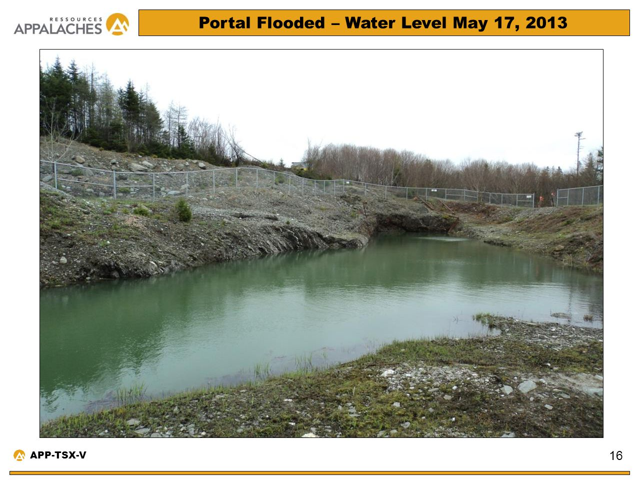 Portal Flooded – Water Level May 17, 2013