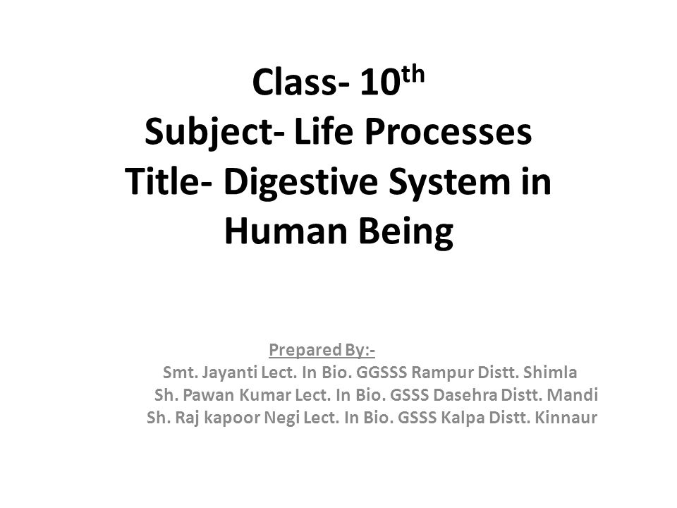 Class- 10th Subject- Life Processes Title- Digestive System in Human Being