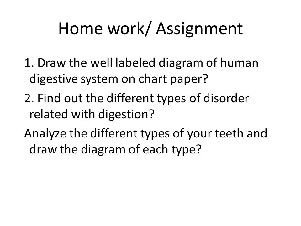 Home work/ Assignment 1. Draw the well labeled diagram of human digestive system on chart paper