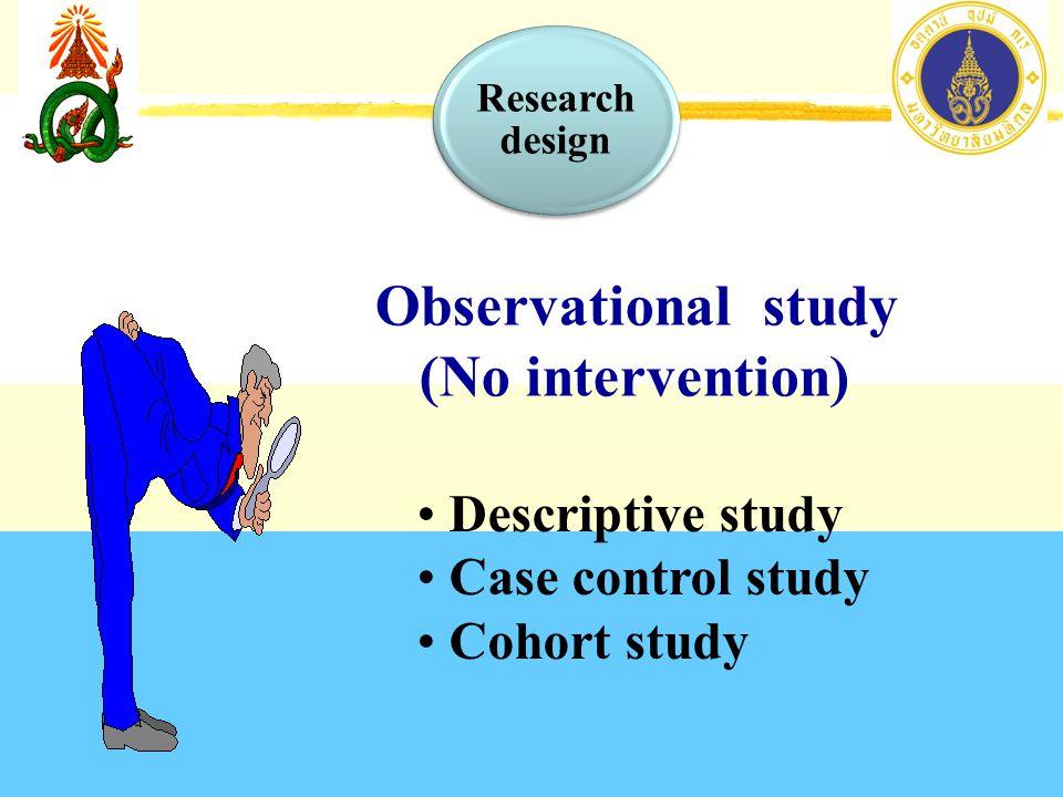 Observational study (No intervention) Descriptive study
