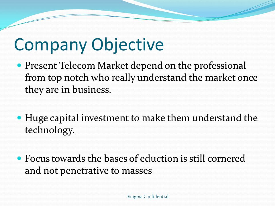 Company Objective Present Telecom Market depend on the professional from top notch who really understand the market once they are in business.