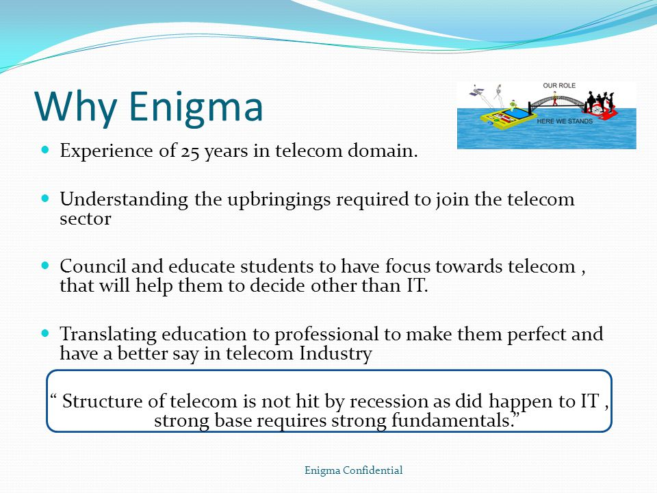 Why Enigma Experience of 25 years in telecom domain.