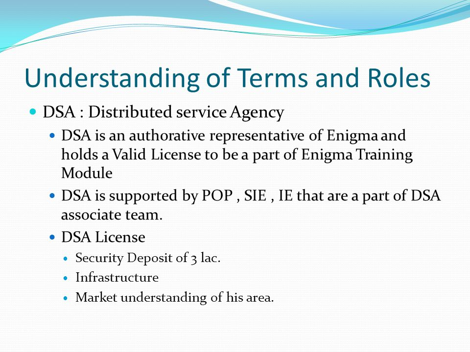 Understanding of Terms and Roles