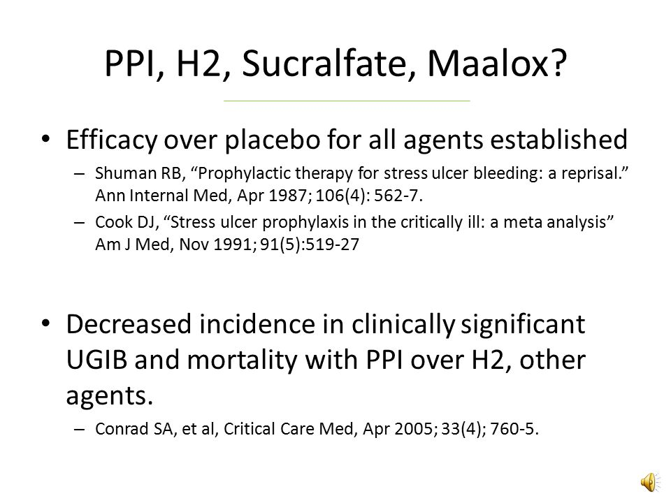 PPI, H2, Sucralfate, Maalox