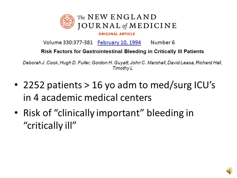 Risk Factors for Gastrointestinal Bleeding in Critically Ill Patients