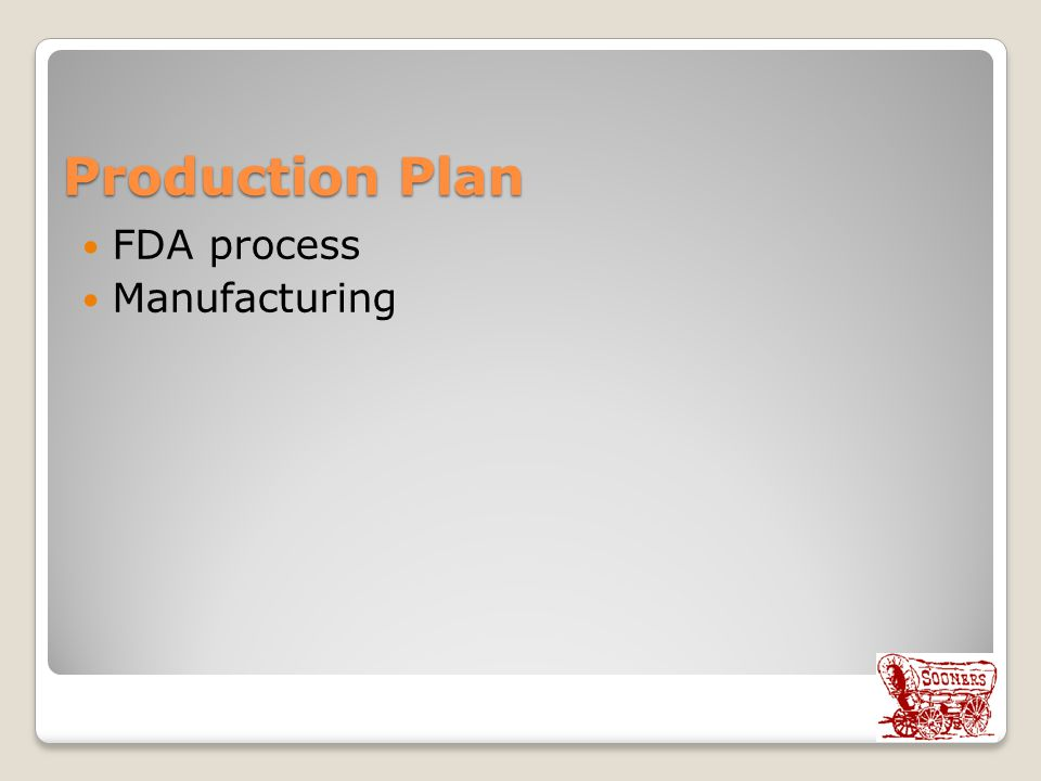 Production Plan FDA process Manufacturing