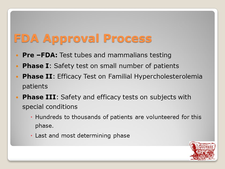 FDA Approval Process Pre –FDA: Test tubes and mammalians testing