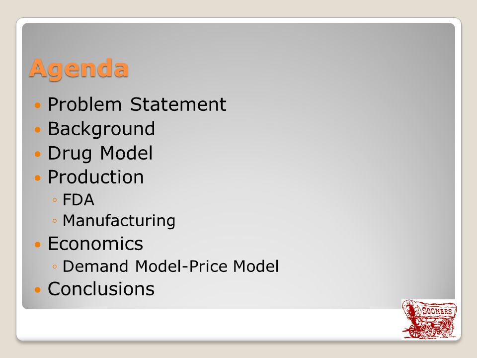 Agenda Problem Statement Background Drug Model Production Economics