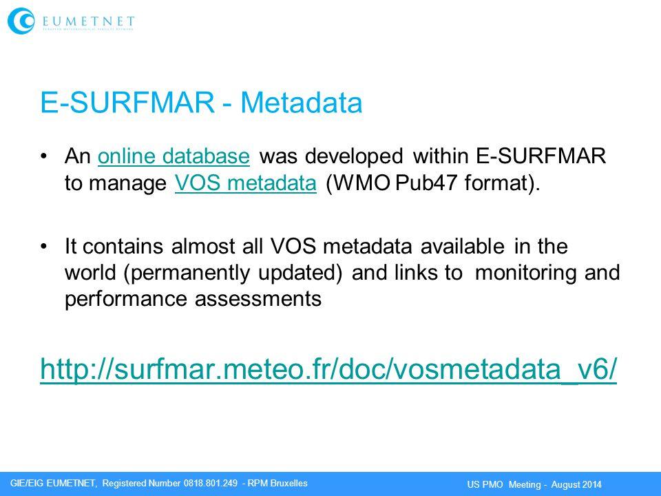E-SURFMAR - Metadata http://surfmar.meteo.fr/doc/vosmetadata_v6/