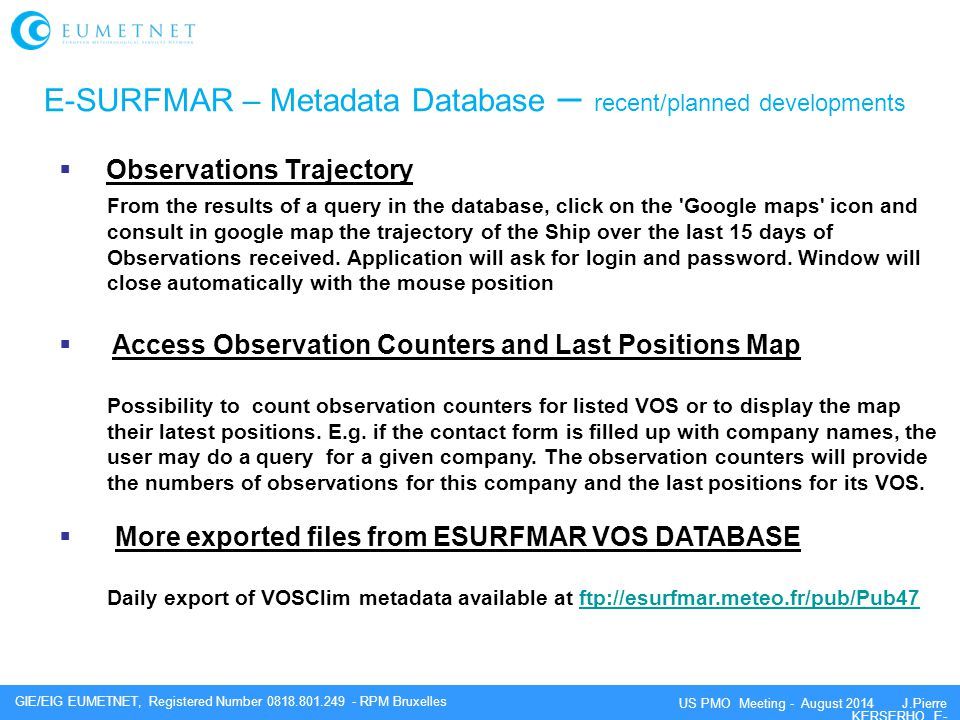 E-SURFMAR – Metadata Database – recent/planned developments