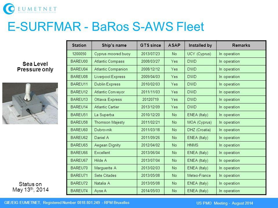 E-SURFMAR - BaRos S-AWS Fleet