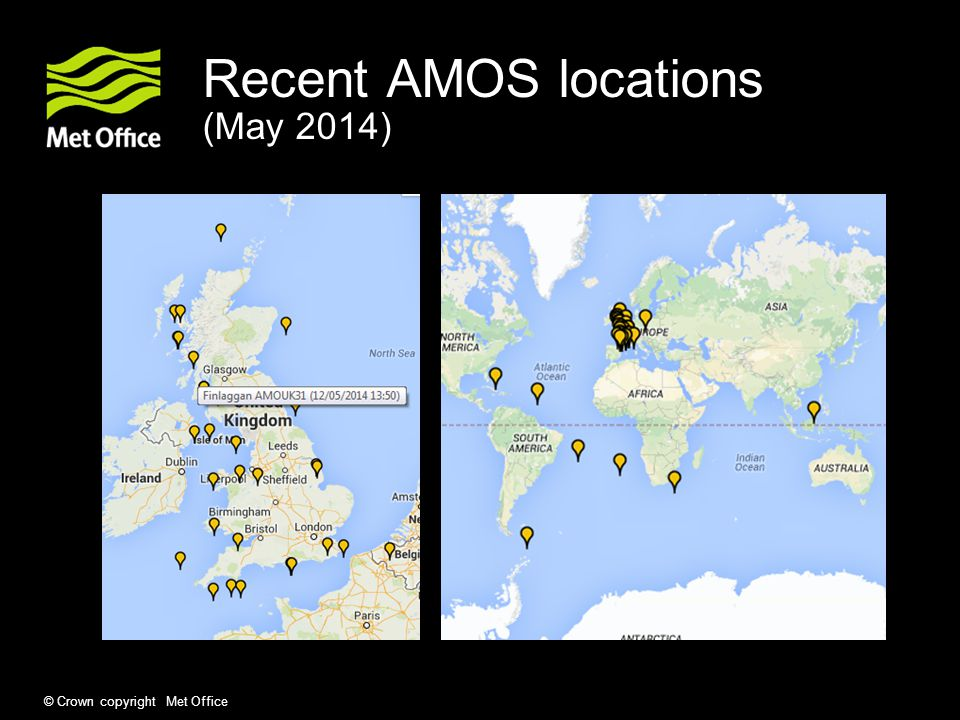 Recent AMOS locations (May 2014)