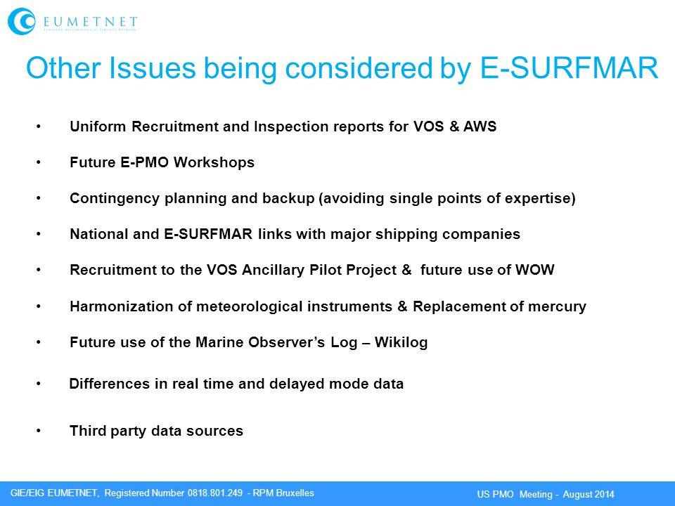 Other Issues being considered by E-SURFMAR