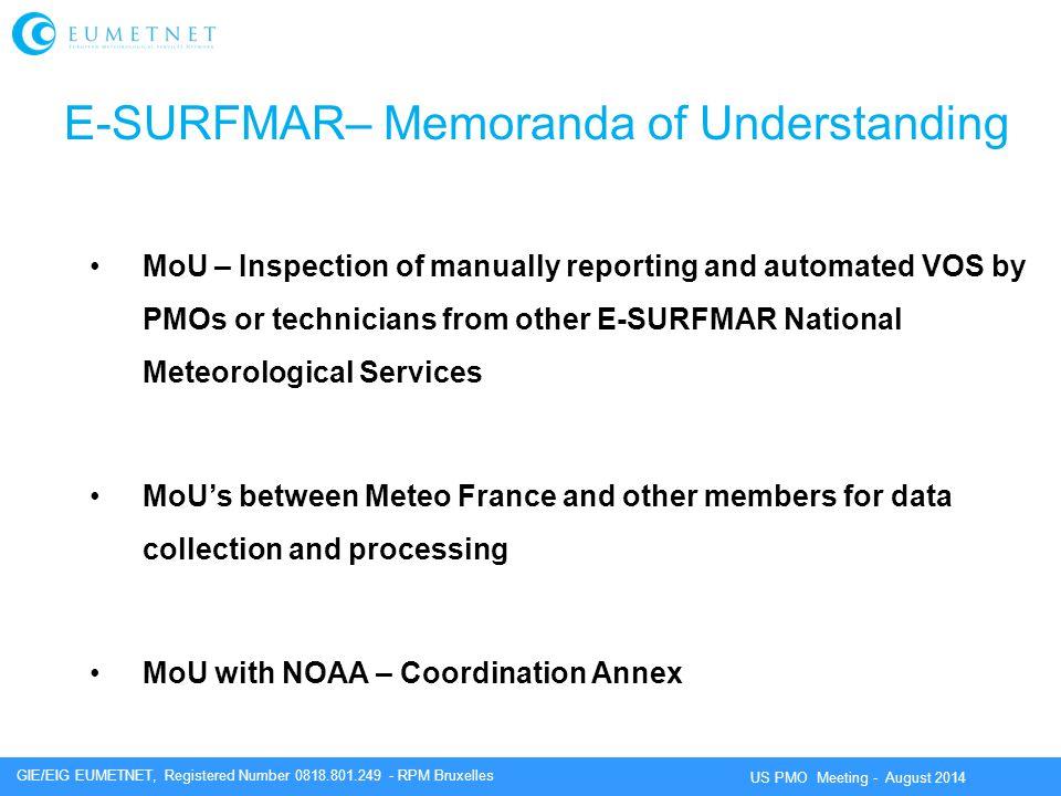 E-SURFMAR– Memoranda of Understanding
