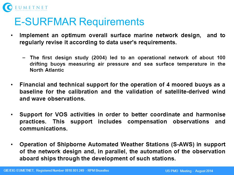 E-SURFMAR Requirements