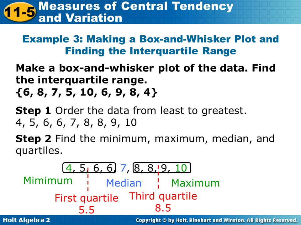 Example 3: Making a Box-and-Whisker Plot and Finding the Interquartile Range