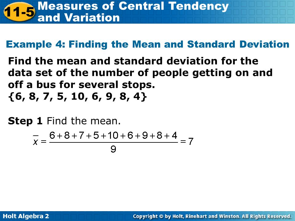 Example 4: Finding the Mean and Standard Deviation