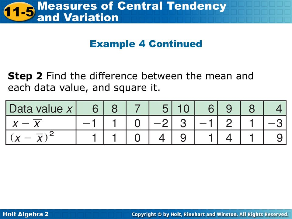 Example 4 Continued Step 2 Find the difference between the mean and each data value, and square it.