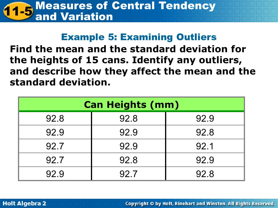 Example 5: Examining Outliers